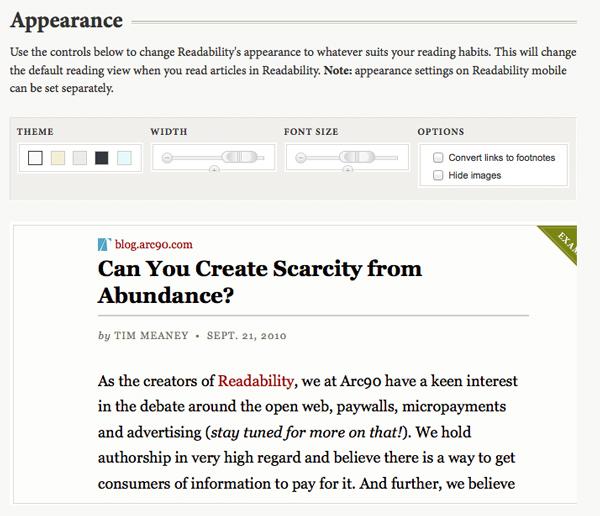 Personalizzazione di lettura su Readability