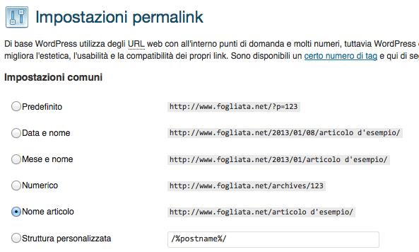 La struttura dei permalink in WordPress