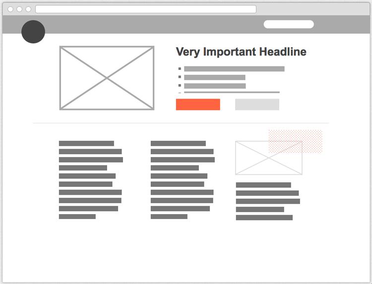 Un esempio di wireframe per un sito web
